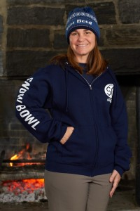 Navy Unisex Adult Snow Bowl SB Logo Zip Hoodie With Snow Bowl Text on Sleeve