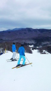 Two skiers on the Allen taking in the views